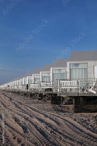 Dutch beach at Julianadorp. Coast. Beachhouse