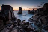 Dawn among the rocks / Sea sunrise at the Black Sea coast near Sozopol, Bulgaria - 242673009