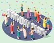 Birthday Party Isometric Design Concept