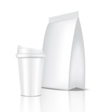 Mock up Realistic Coffee White Cup Packaging Product and Bag Sachet Background Illustration
