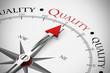 Kompass zeigt in Richtung Quality / Qualität