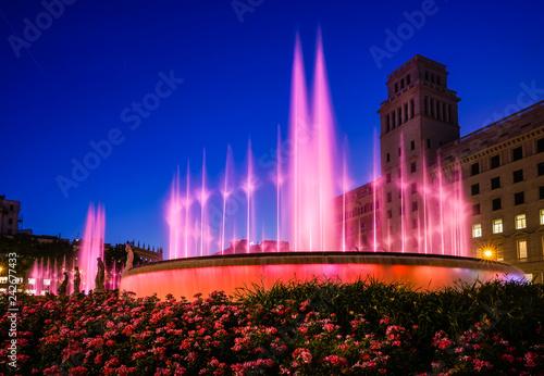 obraz lub plakat Plaza de Catalunya fountains