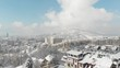 urban area with drone during winter