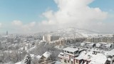 urban area with drone during winter - 242679621