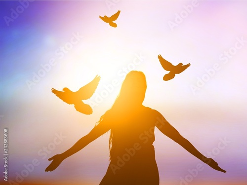 Peace abstract alone background bird christian concept