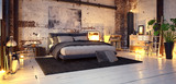 bed in old vintage industrial loft apartment with candle light- 3d rendering - 242683819