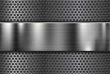 Perforated background with long metal shiny plate - 242684416