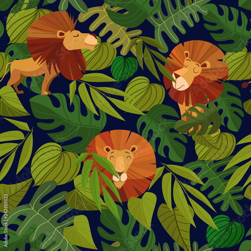 Seamless pattern with tropical leaves and a lion. Cartoon Vector Illustration