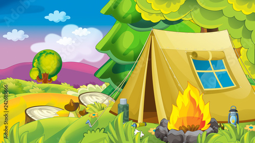 cartoon autumn nature background with forest and mountains - illustration for children - 242685666