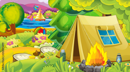 cartoon autumn nature background with forest lake and mountains - illustration for children - 242685699