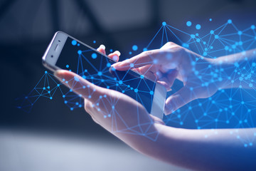 girl hand with touch screen on technology smartphone for business social network concept