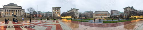 HARLEM, NEW YORK CITY - DECEMBER 2ND, 2018: Panoramic view of people in Columbia University. It is a private Ivy League research university in Upper Manhattan - 242686089