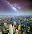 Brooklyn, Manhattan and Williamsburg Bridge at night, amazing aerial view of New York City - USA