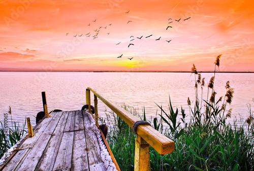 paisaje de amanecer de colores suaves