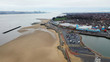 Aerial drone view over New Brighton a seaside area of the town of Wallasey in the UK