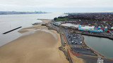 Aerial drone view over New Brighton a seaside area of the town of Wallasey in the UK - 242692258
