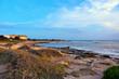 Quadro sunset in punta braccetto beach, ragusa, sicily, italy