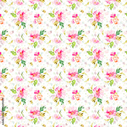 Seamless, Repeating Watercolor Flower Pattern Background - 242695499