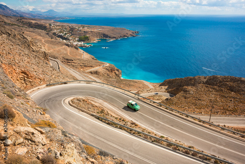 Scenic coastal road on Crete island in Greece