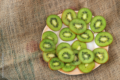 slices of kiwi on a plate