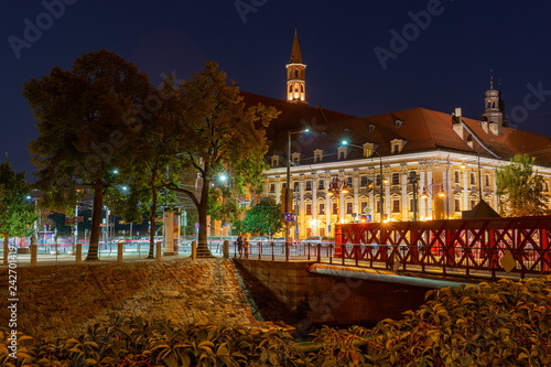 Fototapety, obrazy : Wroclaw city at night, Poland, Europe