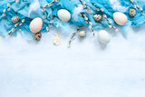 Easter decoration –natural eggs and pussy willow. Top view, close up, flat lay on white wooden background - 242702673