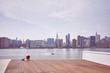 Leinwanddruck Bild - New York City skyline seen from observation deck, color toning applied, USA.