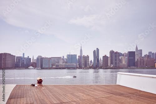 Leinwanddruck Bild New York City skyline seen from observation deck, color toning applied, USA.