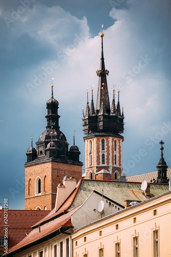 obraz PCV Krakow, Poland. Two Towers Of St. Mary's Basilica. Close Up Of F
