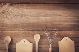 vintage cookware on wooden board - 242716433