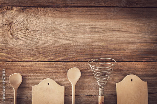 Poster vintage cookware on wooden board