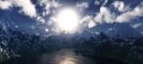 Fototapeta Fototapety na ścianę - Snowy peaks at sunset, mountains from a height, Mountain lake at sunrise, © ustas