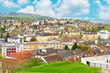 View of Melk town from the entrance of Stift Melk with beautiful blue sky, Austria - 242728850