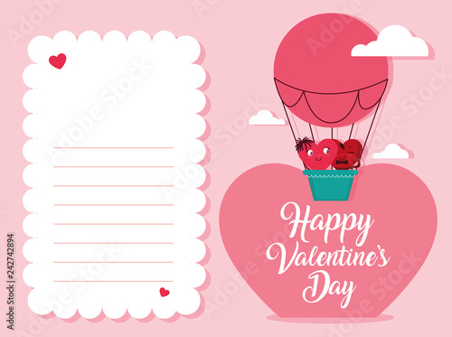 cute hearts couple in balloon air hot love card