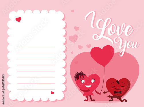 cute hearts couple love card