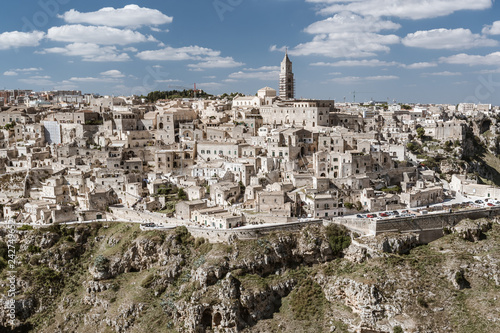 """Leinwanddruck Bild Matera in region Bazylikata, Italy - commonly referred to as """"town carved out of the rock"""""""