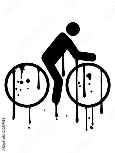graffiti tropfen klecks farbe spritzer fahrrad fahrer fahren biker sport tour piktogramm spaß zweirad gesund ausdauer schnell rad clipart design