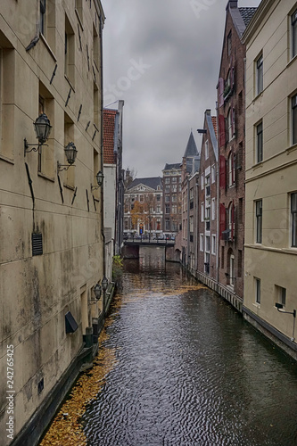 Medieval architecture along an Amsterdam canal