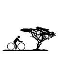 baum afrika savanne ferien urlaub sonne sommer fahrrad fahrer fahren biker sport tour piktogramm spaß zweirad gesund ausdauer schnell rad clipart design - 242766433