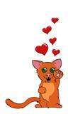 Ginger Cat standing on hind legs, heart corner border
