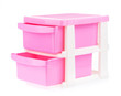 Pink plastic drawer isolated on white background