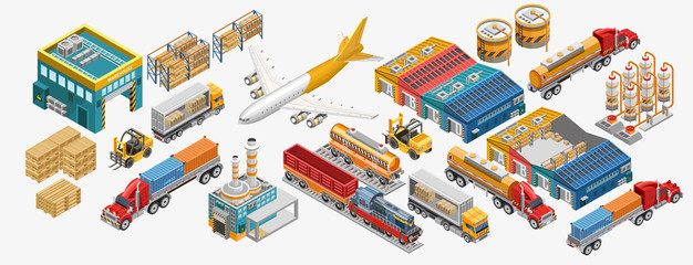 Isometric warehouse and logistics set of freight vessels and vehicles amidst factories and warehouses