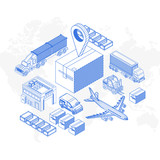 Set of isometric icons showing various delivery transport and element on white background - 242771428