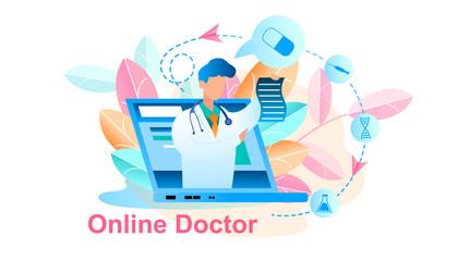 Illustration Online Doctor Treatment Consultation