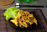 Crispy fried fish Skin with salted egg - 242781209