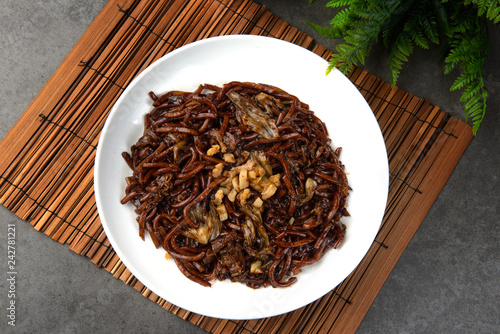 Fried Hokkien Mee flat lay view
