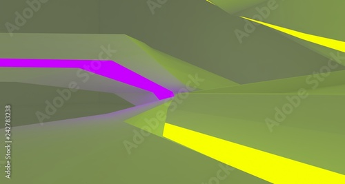 Abstract  white Futuristic Sci-Fi interior With Purple And Yellow Glowing Neon Tubes . 3D illustration and rendering.