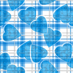 Seamless Valentines Day blue hearts white ckeckered plaid pattern © fuzzyfox