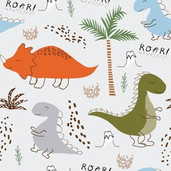 childish dinosaur seamless pattern for fashion clothes, fabric, t shirts. hand drawn vector with lettering.