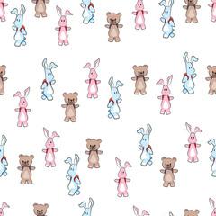 cute cartoon bunny and bear animal vector seamless patern